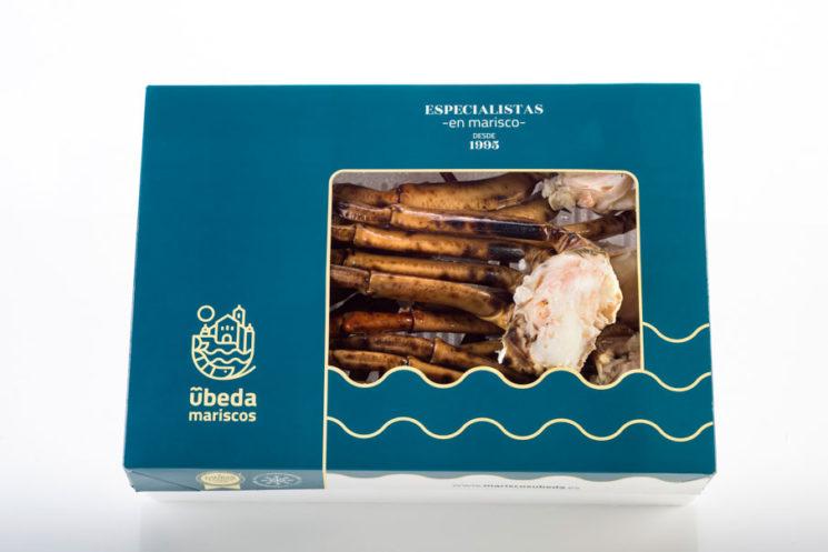 Estuche con cuerpos de cangrejo cocidos en formato de 1 kg